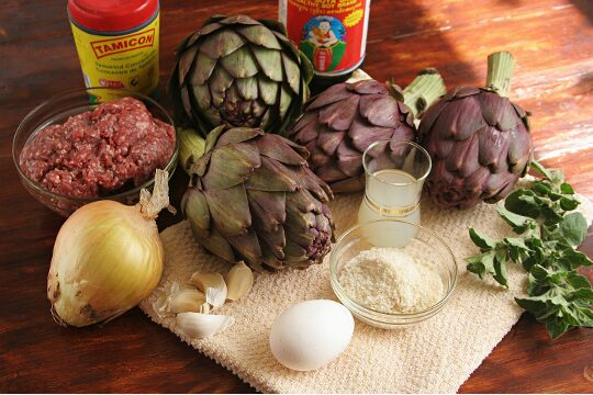 stuffed, artichoke, meat, ingredients
