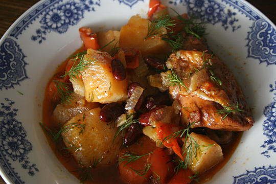 Chicken Stew with Vegetables and Kidney Beans