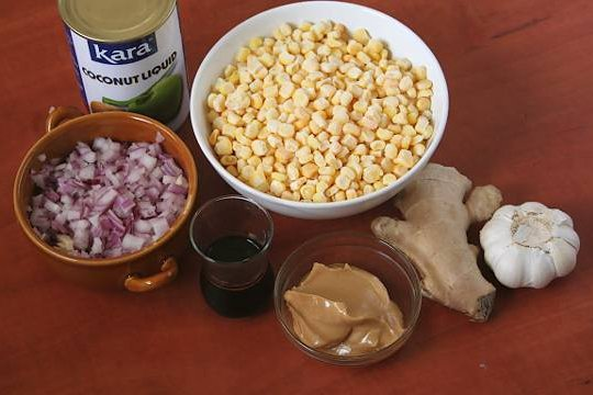 Ingredients for corn soup.