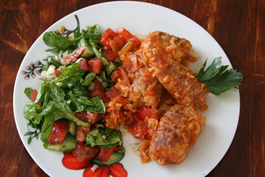 Cod Fish in Tomato and Bell Pepper Sauce