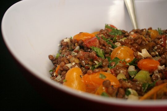 Lentils cooked into a yummy salad
