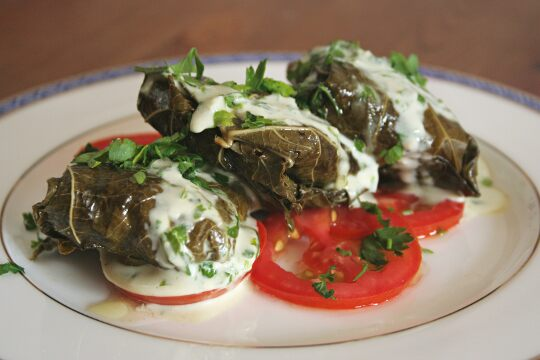 Grape Leaves Stuffed with Chicken, Rice and Artichokes