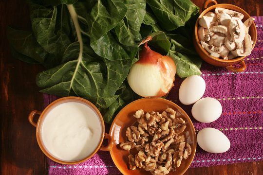 swiss chard and mushrooms pie ingredients