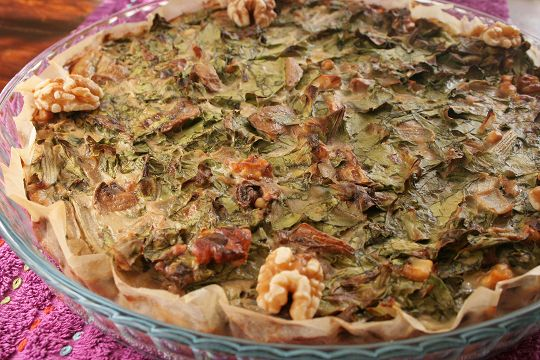 swiss chard and mushrooms pie whole ready