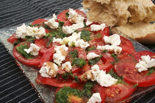 "Tomatos ""Carpaccio"" in Fresh Herbs Spread"